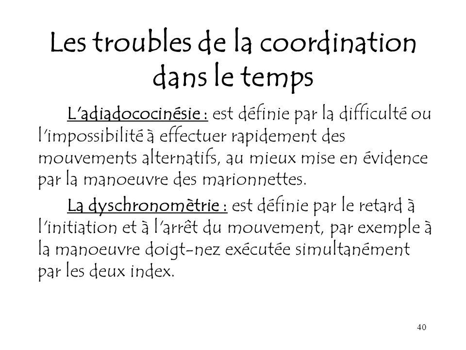 Les troubles de la coordination dans le temps