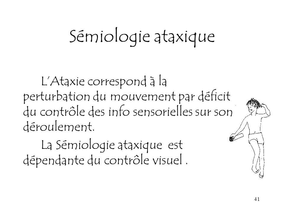 Sémiologie ataxique L'Ataxie correspond à la perturbation du mouvement par déficit du contrôle des info sensorielles sur son déroulement.