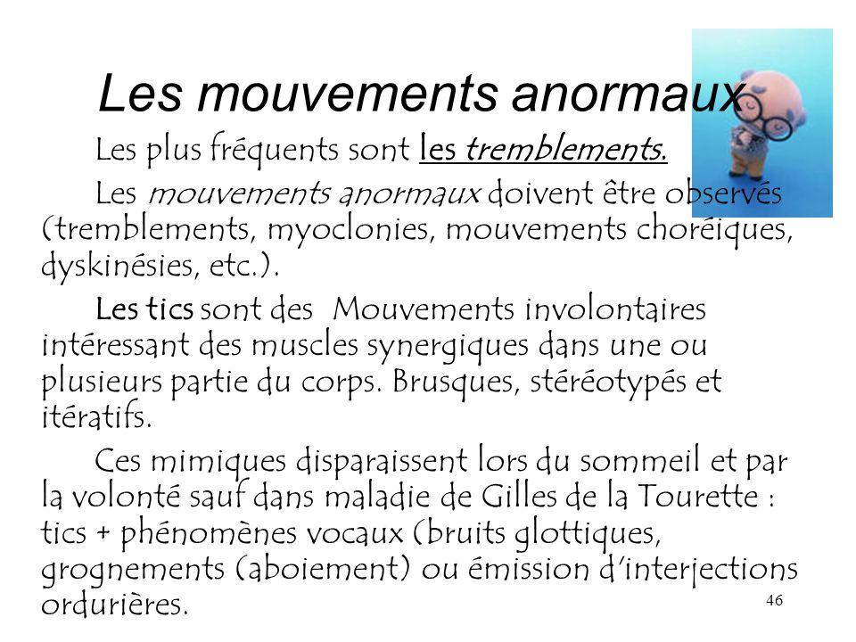 Les mouvements anormaux