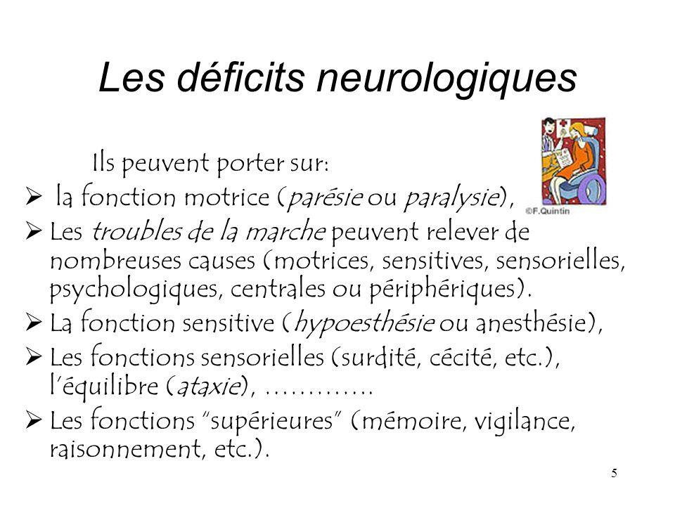 Les déficits neurologiques