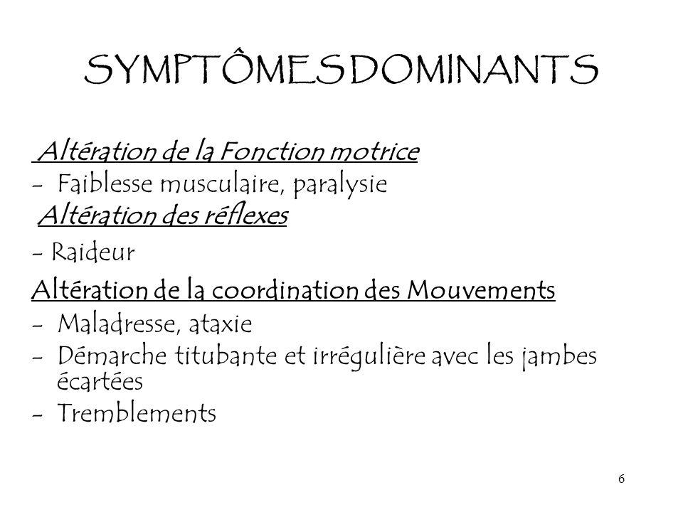 SYMPTÔMES DOMINANTS Altération de la Fonction motrice