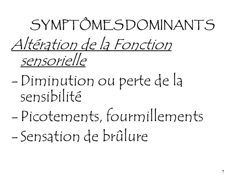 Altération de la Fonction sensorielle