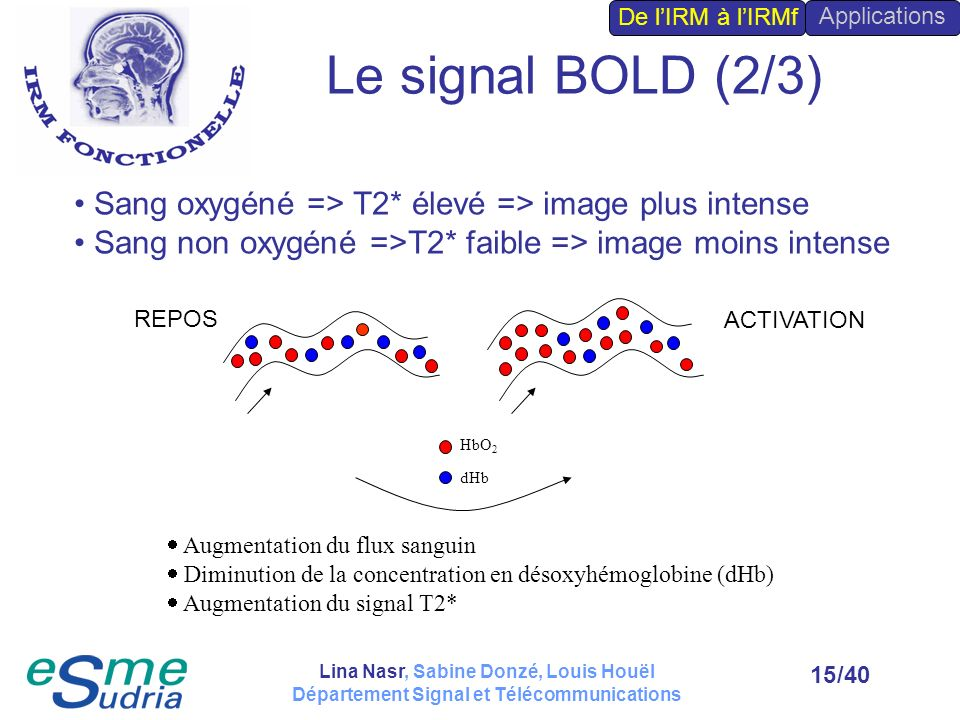 De l'IRM à l'IRMf Applications. Le signal BOLD (2/3) Sang oxygéné => T2* élevé => image plus intense.