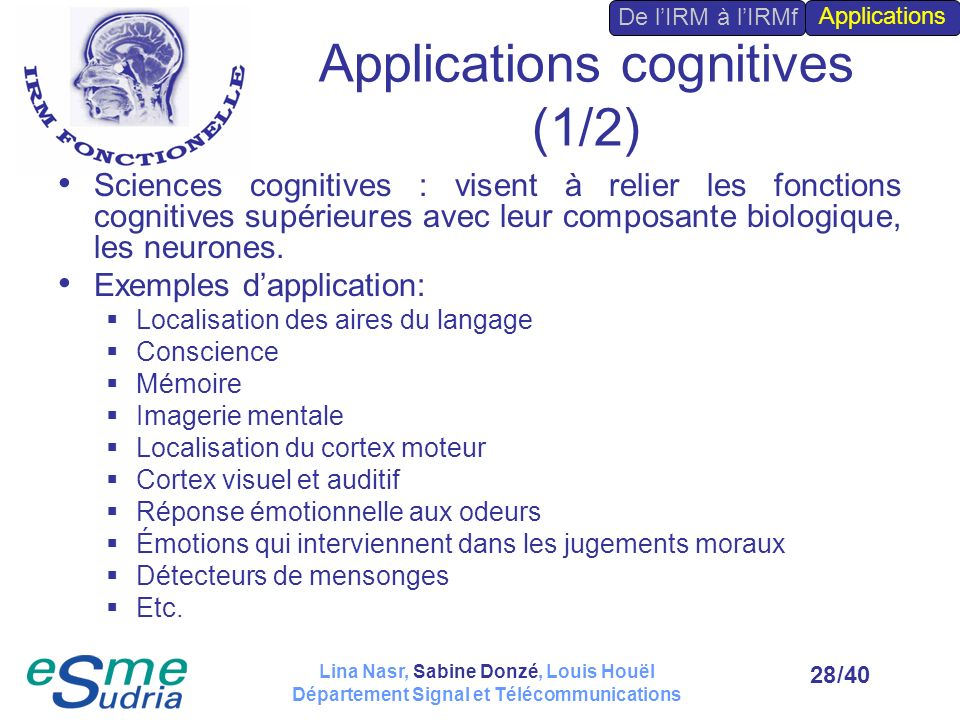 Applications cognitives (1/2)