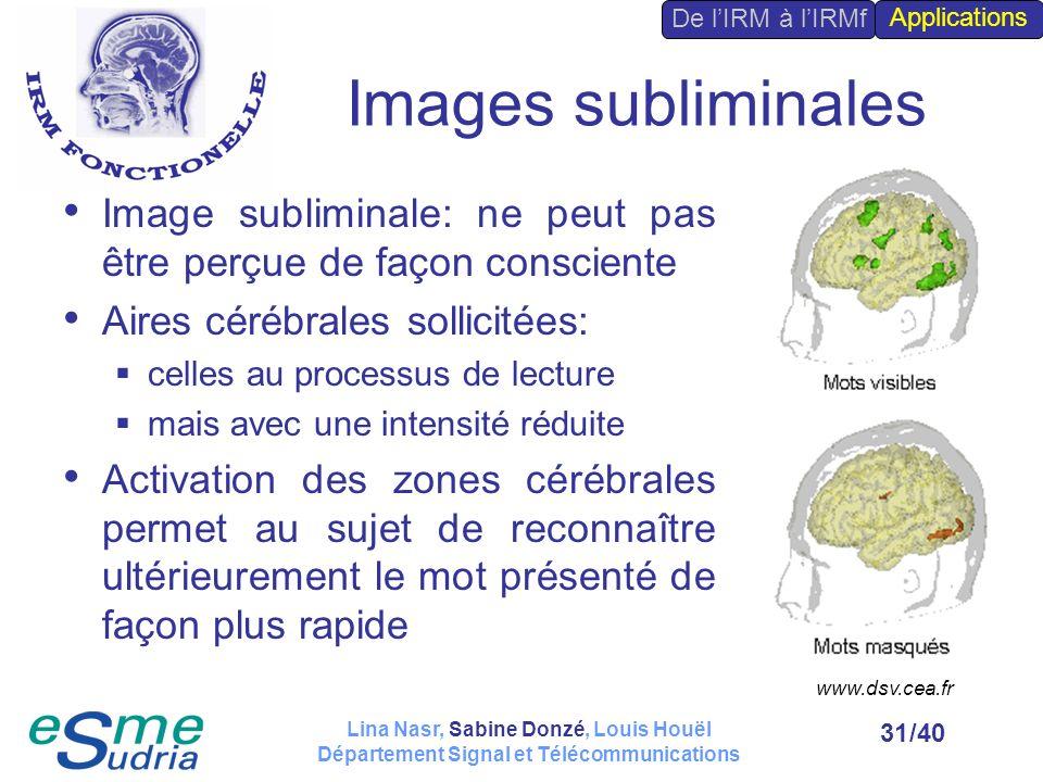 De l'IRM à l'IRMf Applications. Images subliminales. Image subliminale: ne peut pas être perçue de façon consciente.