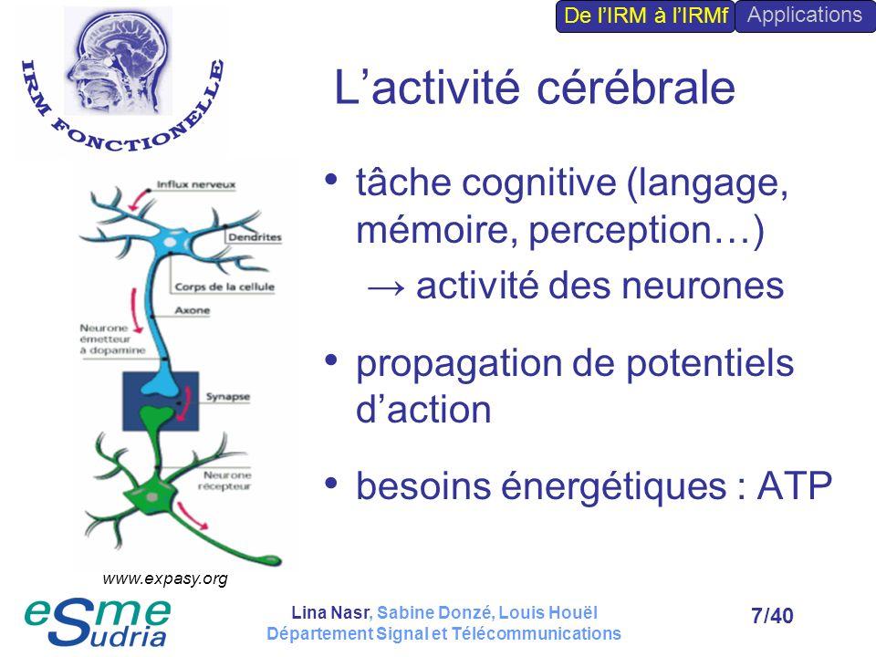 L'activité cérébrale tâche cognitive (langage, mémoire, perception…)