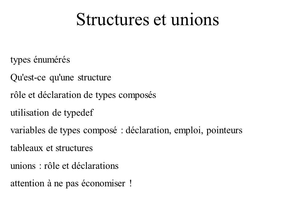 Structures et unions types énumérés Qu est-ce qu une structure