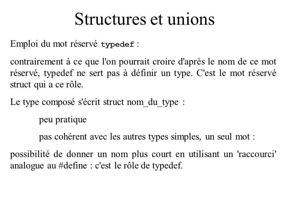 Structures et unions Emploi du mot réservé typedef :