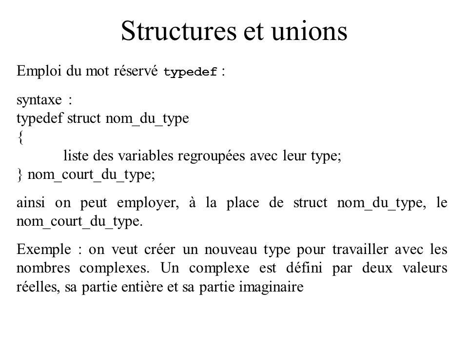 Structures et unions Emploi du mot réservé typedef : syntaxe :