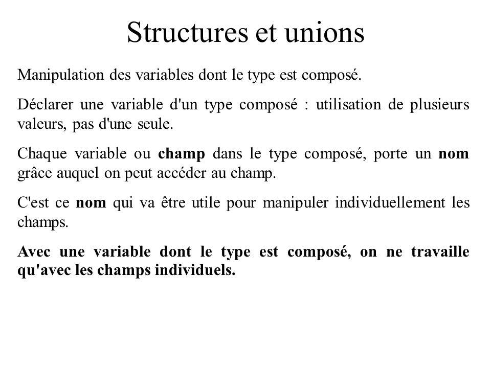 Structures et unions Manipulation des variables dont le type est composé.