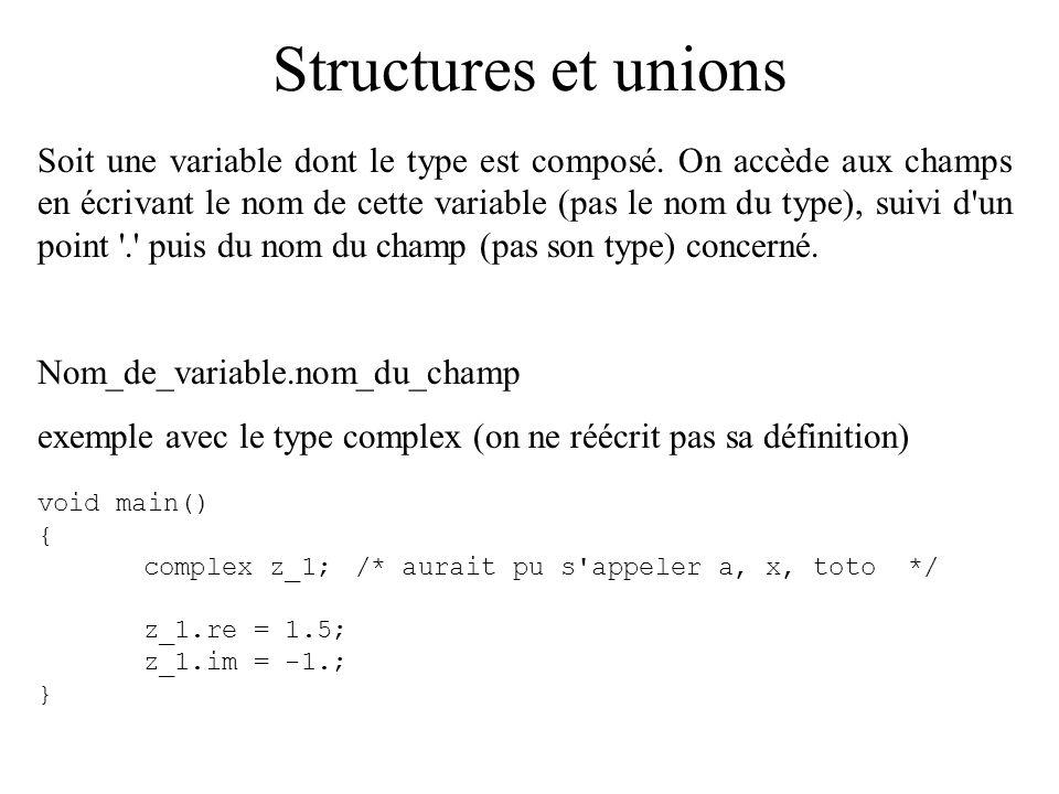 Structures et unions