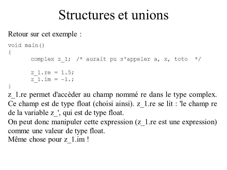 Structures et unions Retour sur cet exemple :