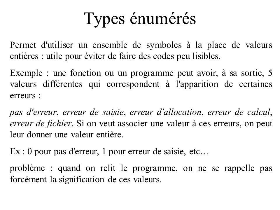 Types énumérés Permet d utiliser un ensemble de symboles à la place de valeurs entières : utile pour éviter de faire des codes peu lisibles.