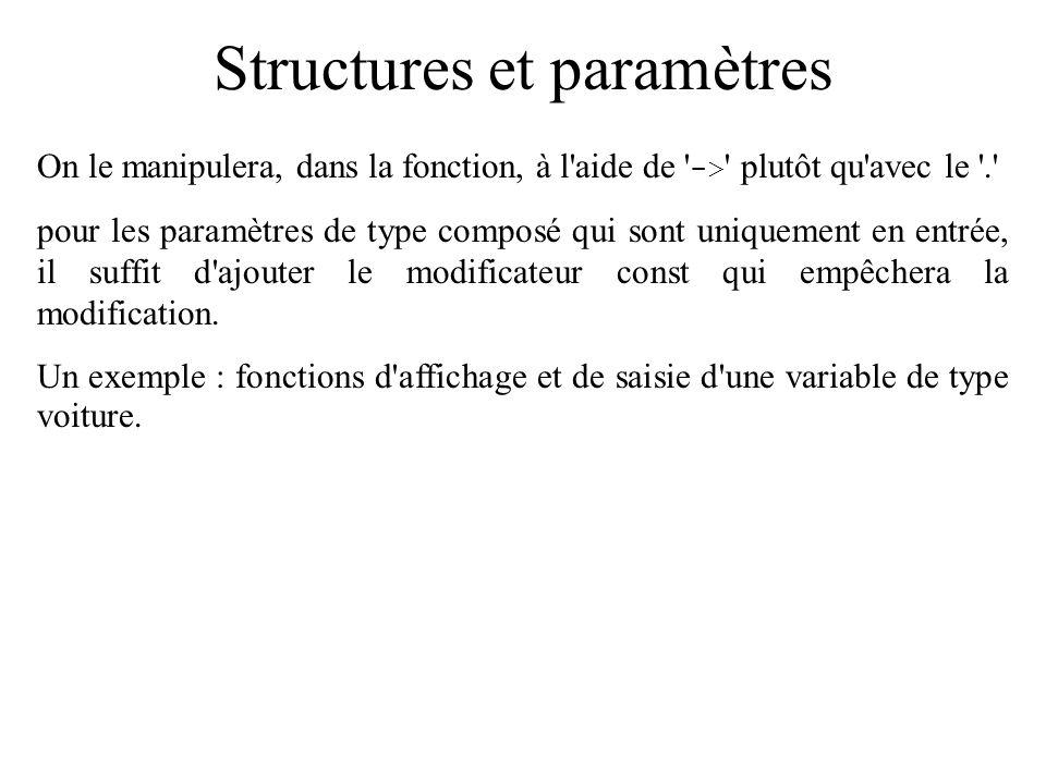 Structures et paramètres