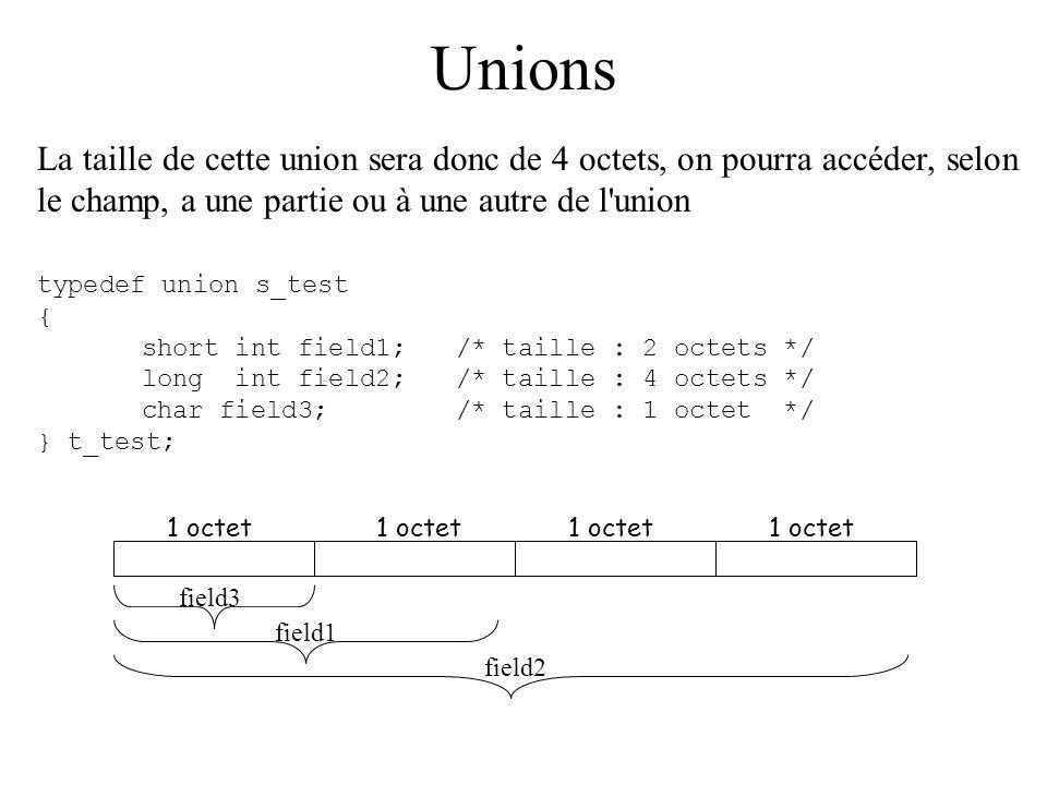 Unions La taille de cette union sera donc de 4 octets, on pourra accéder, selon le champ, a une partie ou à une autre de l union.
