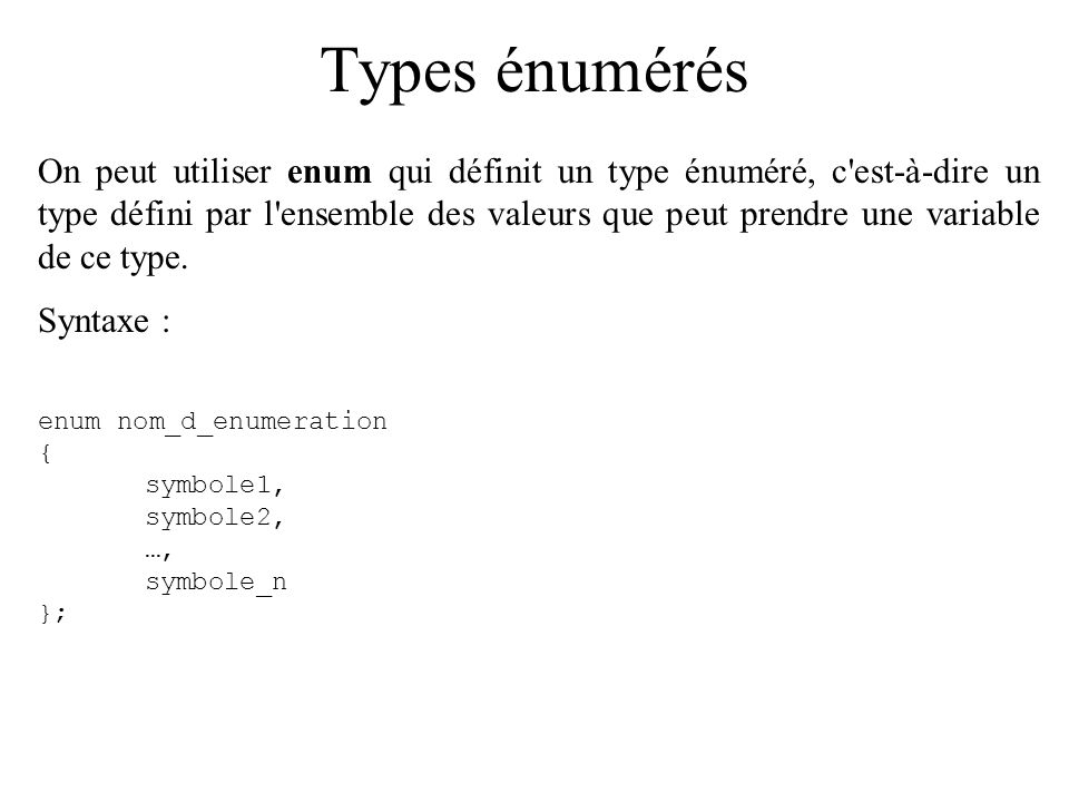 Types énumérés