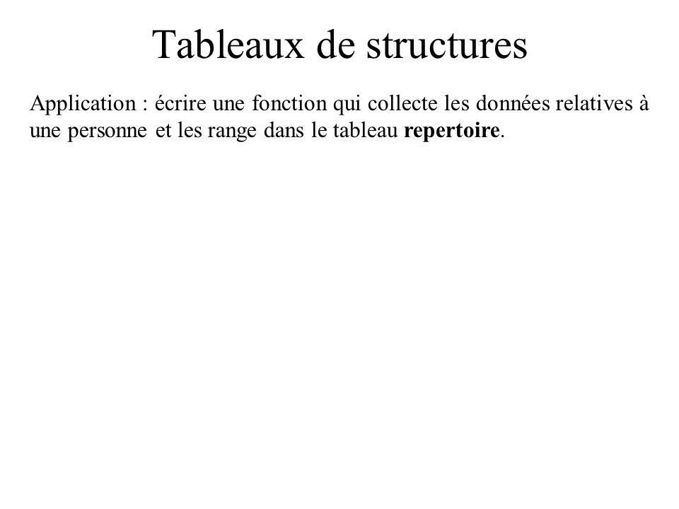 Tableaux de structures