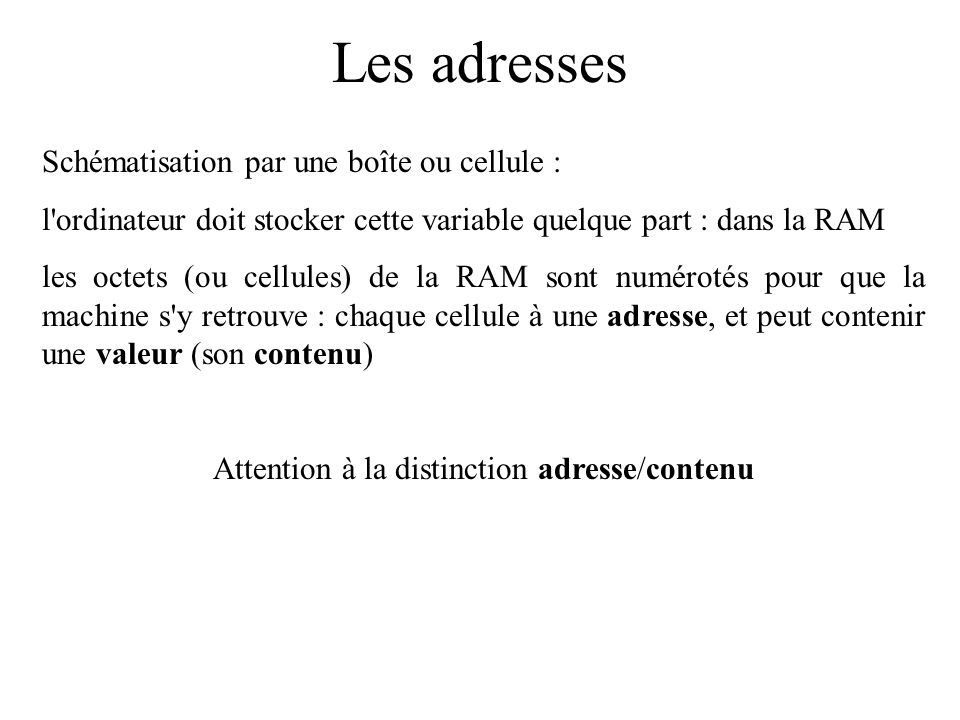 Attention à la distinction adresse/contenu