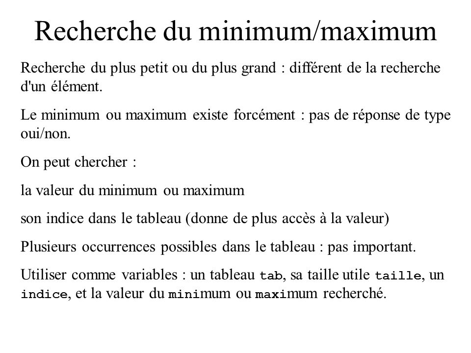 Recherche du minimum/maximum