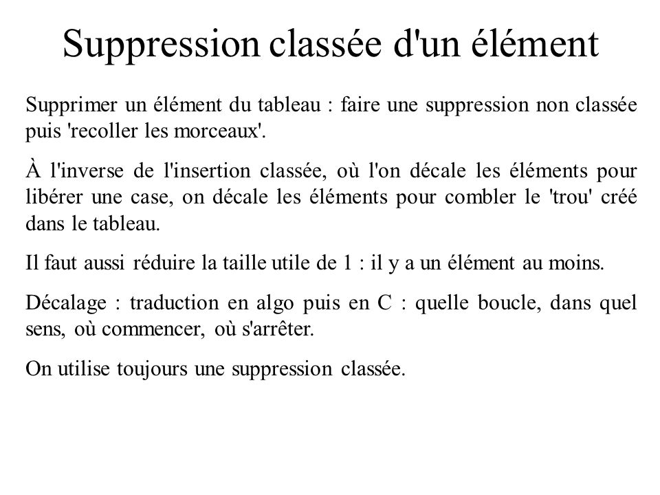 Suppression classée d un élément