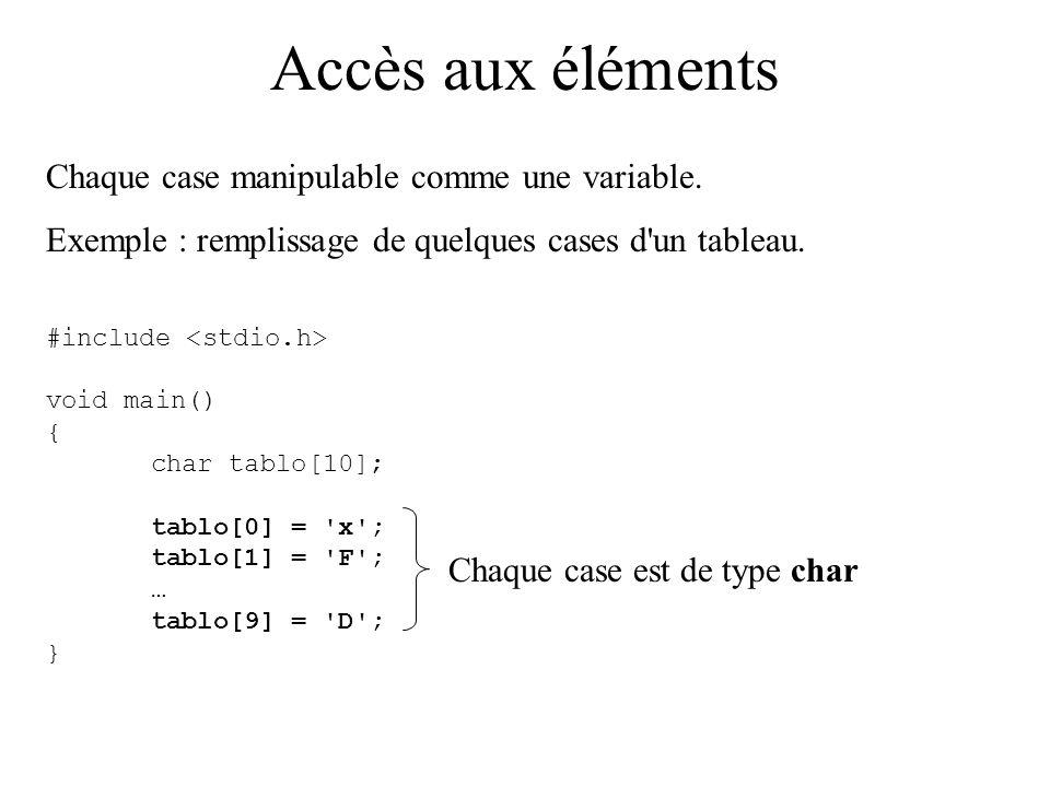 Accès aux éléments Chaque case manipulable comme une variable.