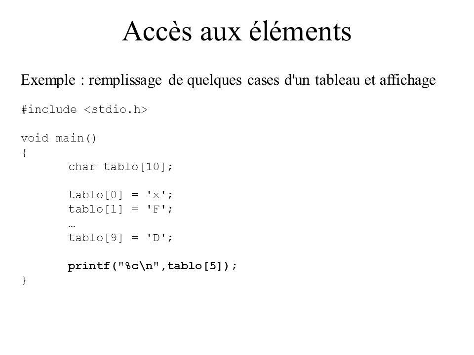 Accès aux éléments Exemple : remplissage de quelques cases d un tableau et affichage. #include <stdio.h>