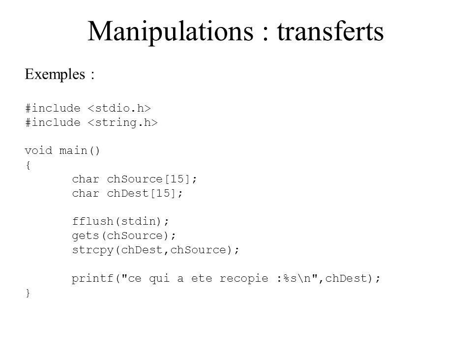 Manipulations : transferts
