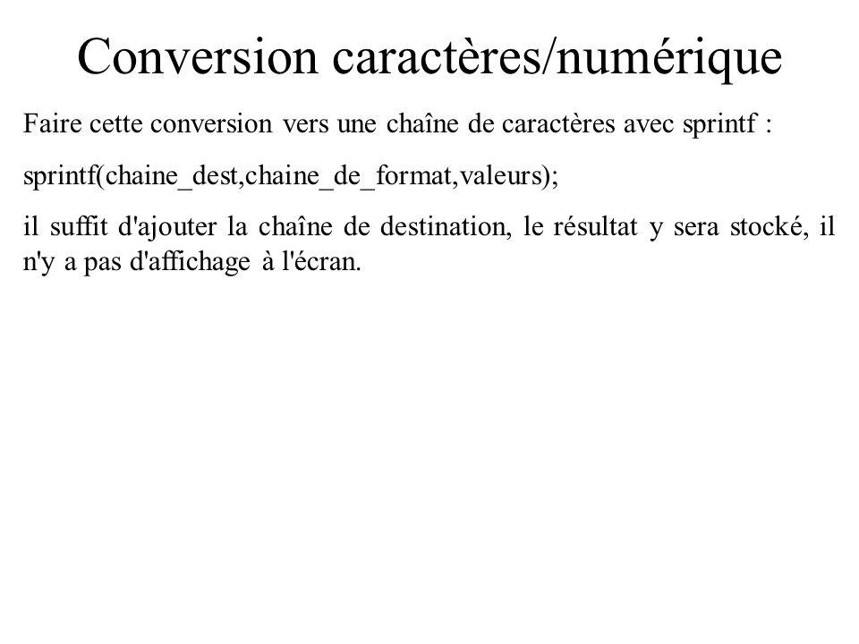 Conversion caractères/numérique