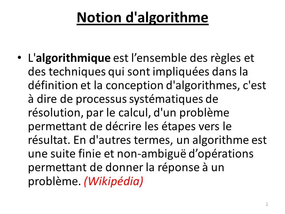 Notion d algorithme