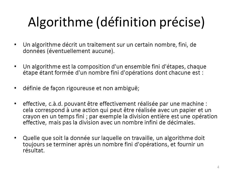 Algorithme (définition précise)