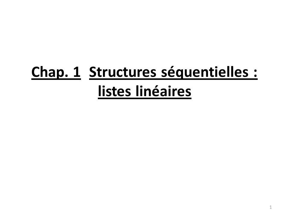 Chap. 1 Structures séquentielles : listes linéaires