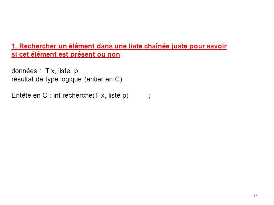 1. Rechercher un élément dans une liste chaînée juste pour savoir si cet élément est présent ou non