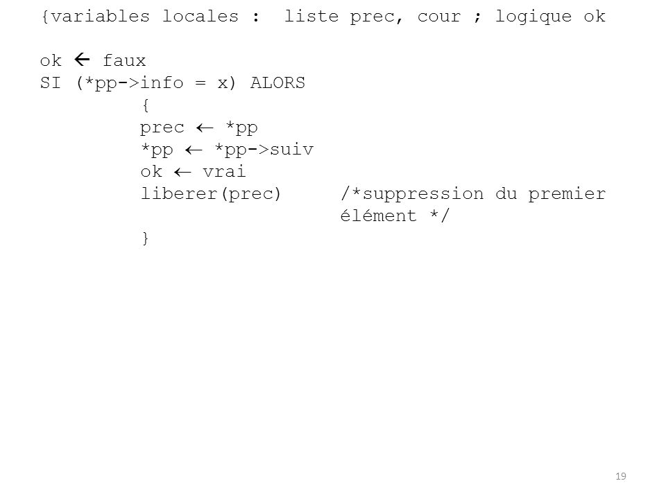 {variables locales : liste prec, cour ; logique ok