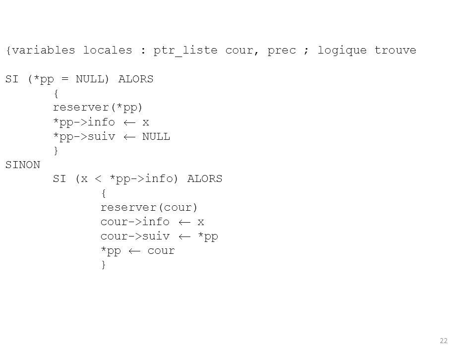 {variables locales : ptr_liste cour, prec ; logique trouve