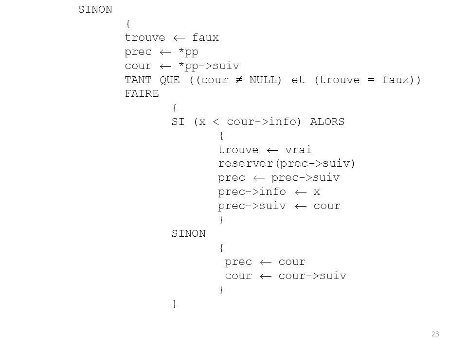 SINON { trouve  faux. prec  *pp. cour  *pp->suiv. TANT QUE ((cour  NULL) et (trouve = faux)) FAIRE.