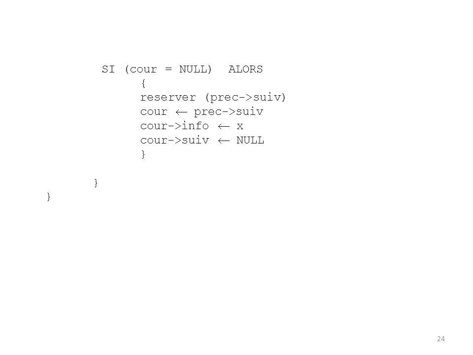 SI (cour = NULL) ALORS { reserver (prec->suiv) cour  prec->suiv. cour->info  x. cour->suiv  NULL.