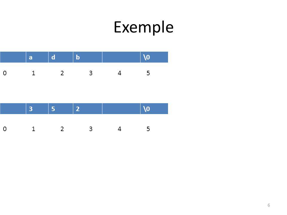 Exemple a d b \0 0 1 2 3 4 5 3 5 2 \0 0 1 2 3 4 5