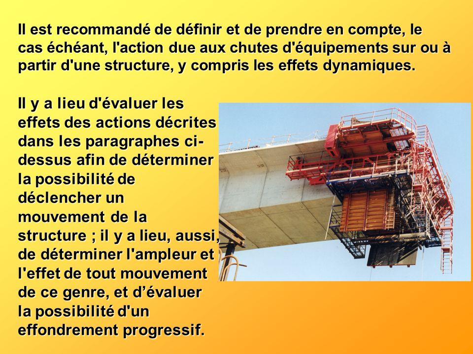 Il est recommandé de définir et de prendre en compte, le cas échéant, l action due aux chutes d équipements sur ou à partir d une structure, y compris les effets dynamiques.