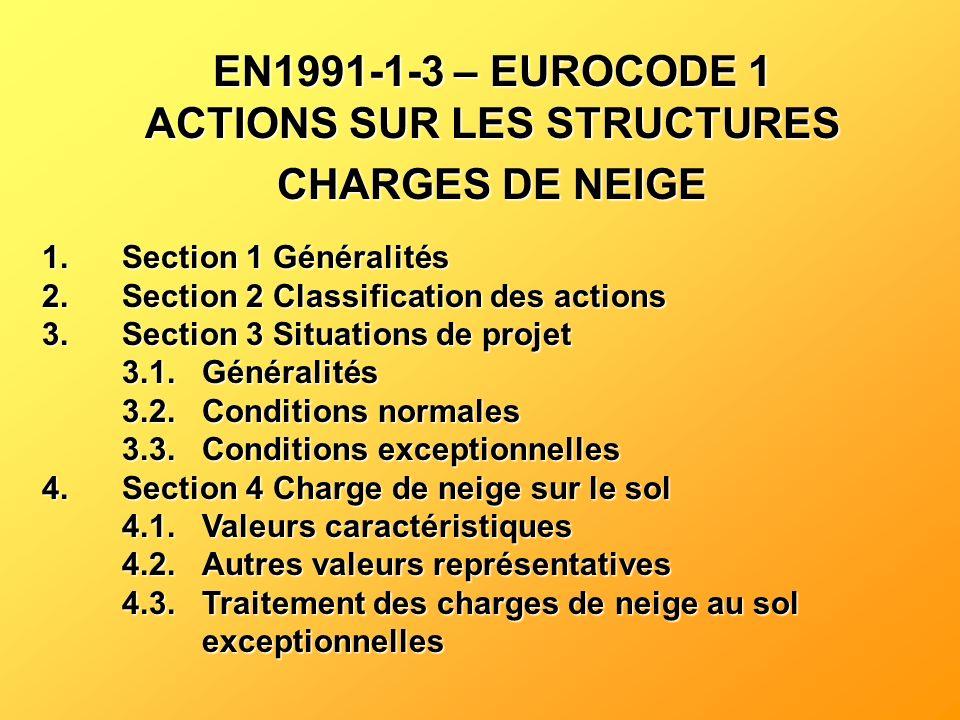 EN1991-1-3 – EUROCODE 1 ACTIONS SUR LES STRUCTURES CHARGES DE NEIGE
