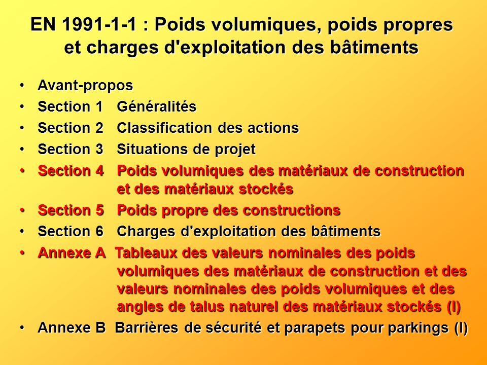 EN 1991-1-1 : Poids volumiques, poids propres et charges d exploitation des bâtiments