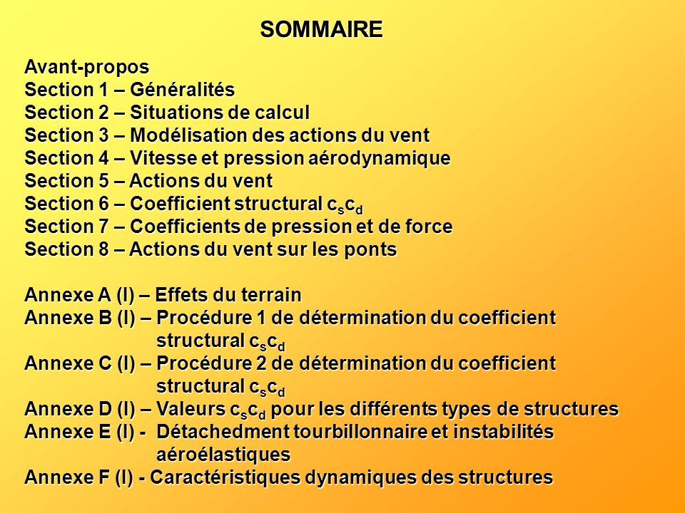 SOMMAIRE Avant-propos Section 1 – Généralités