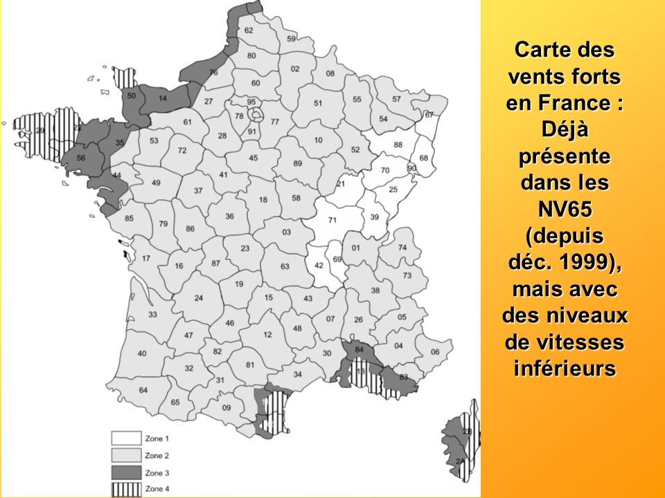 Carte des vents forts en France :