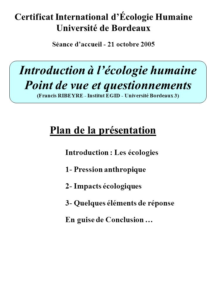 Introduction à l'écologie humaine Point de vue et questionnements