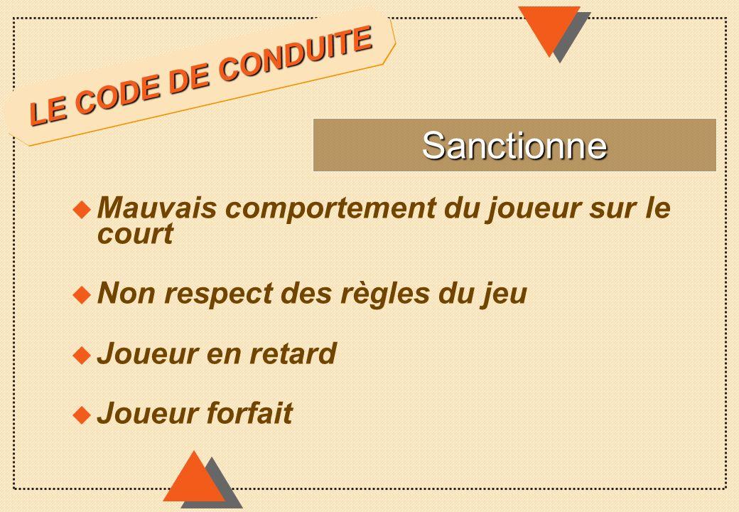 Sanctionne LE CODE DE CONDUITE
