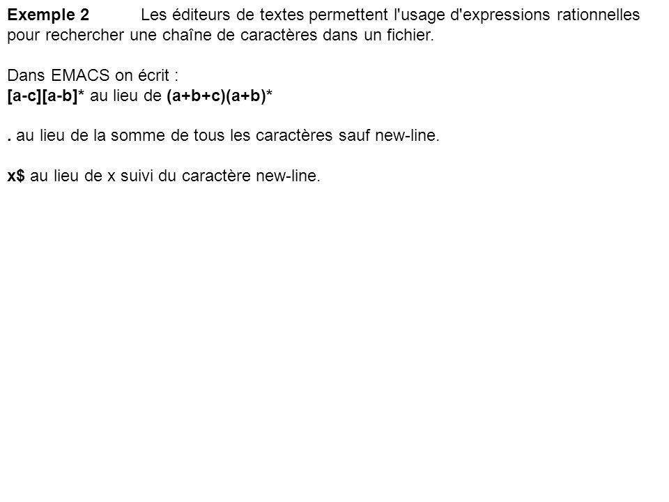 Exemple 2 Les éditeurs de textes permettent l usage d expressions rationnelles pour rechercher une chaîne de caractères dans un fichier.