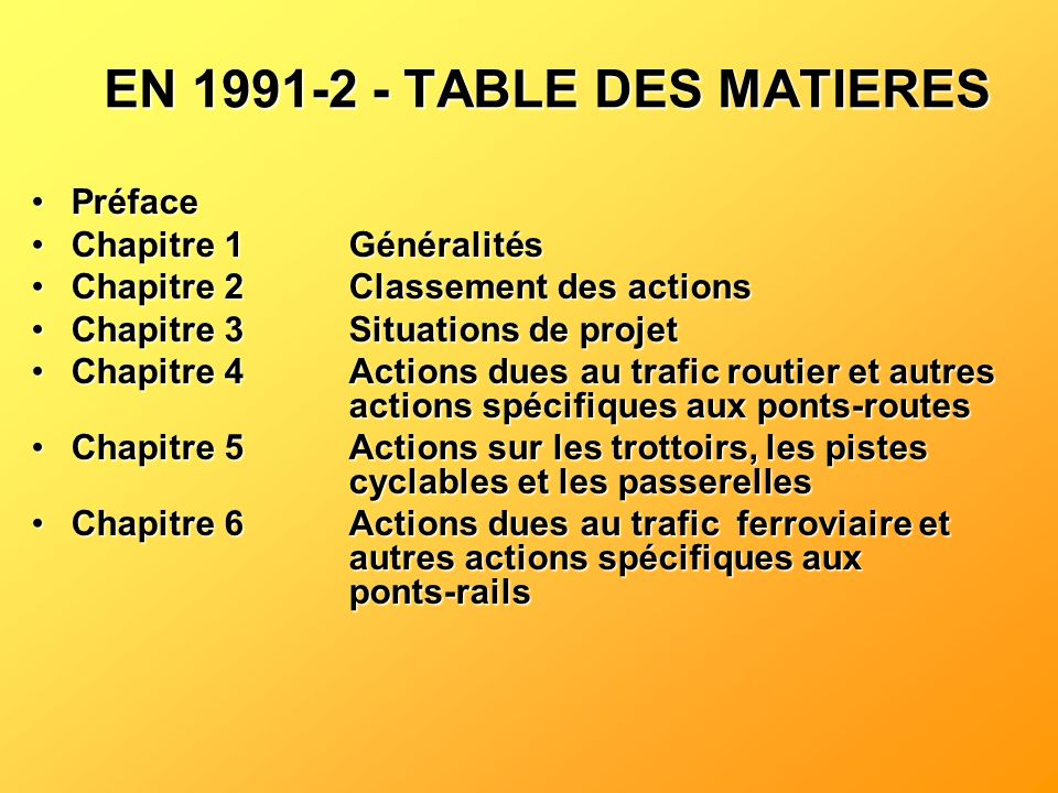 EN 1991-2 - TABLE DES MATIERES