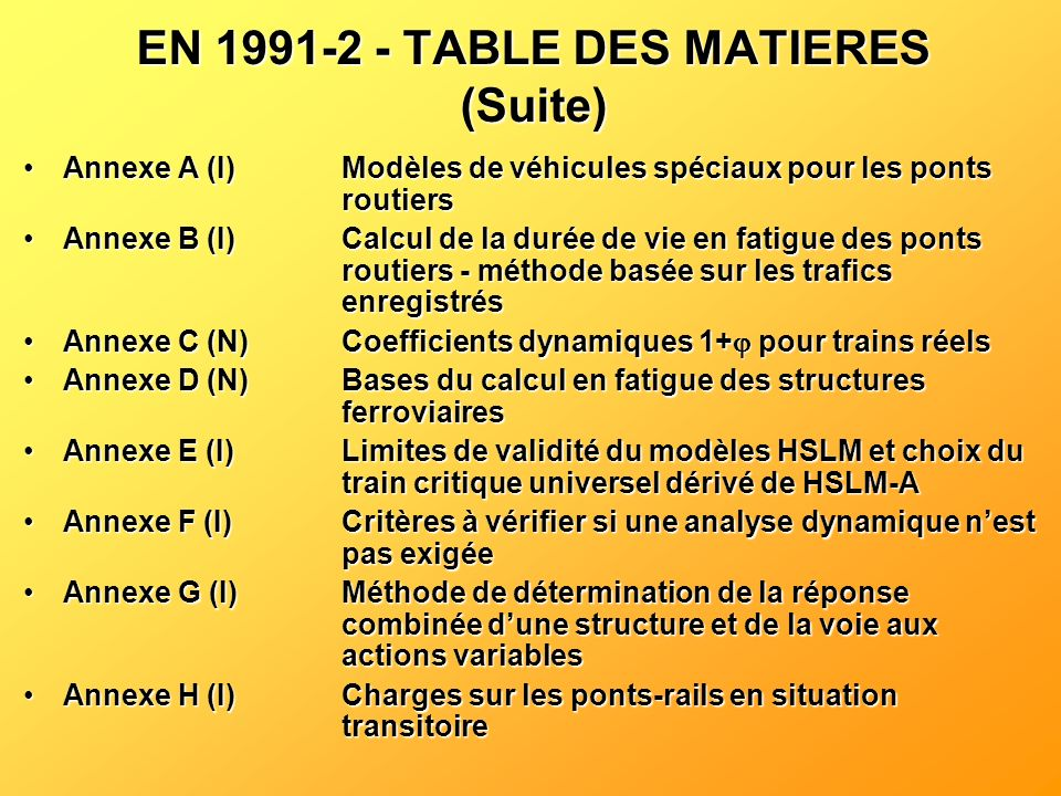 EN 1991-2 - TABLE DES MATIERES (Suite)