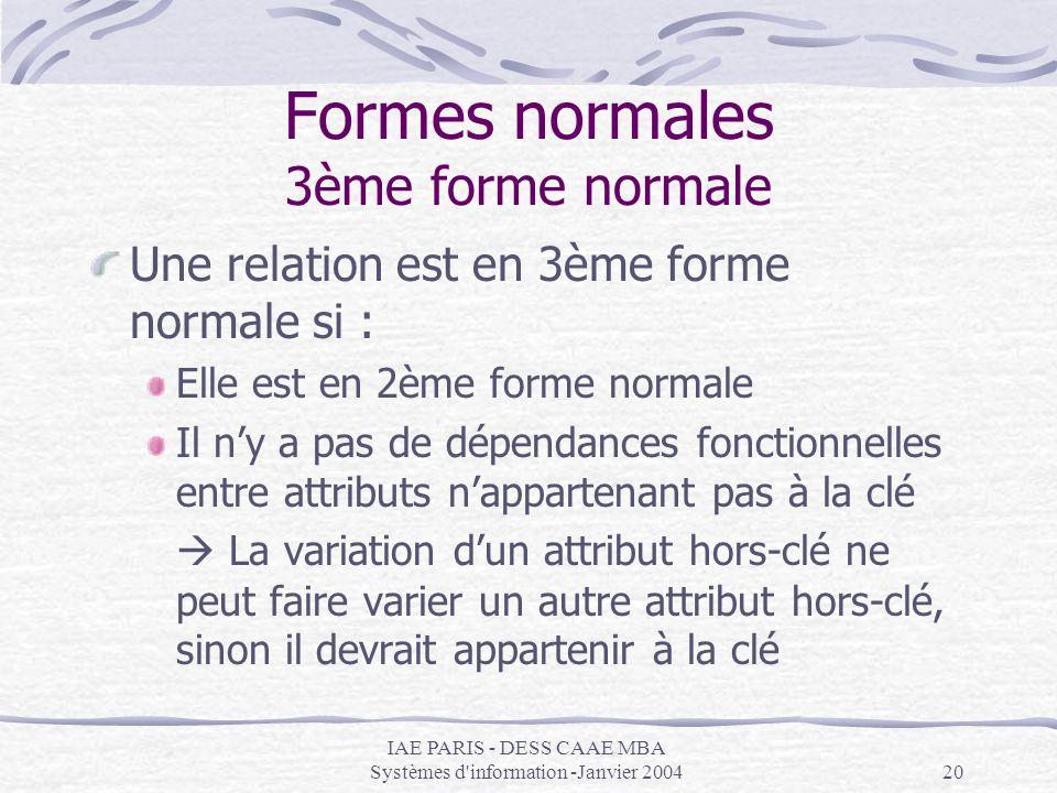 Formes normales 3ème forme normale
