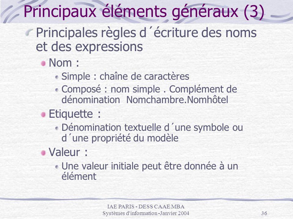 Principaux éléments généraux (3)