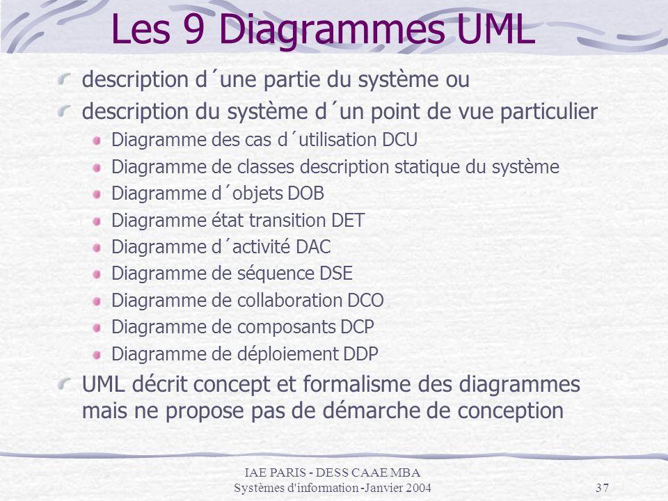 IAE PARIS - DESS CAAE MBA Systèmes d information -Janvier 2004